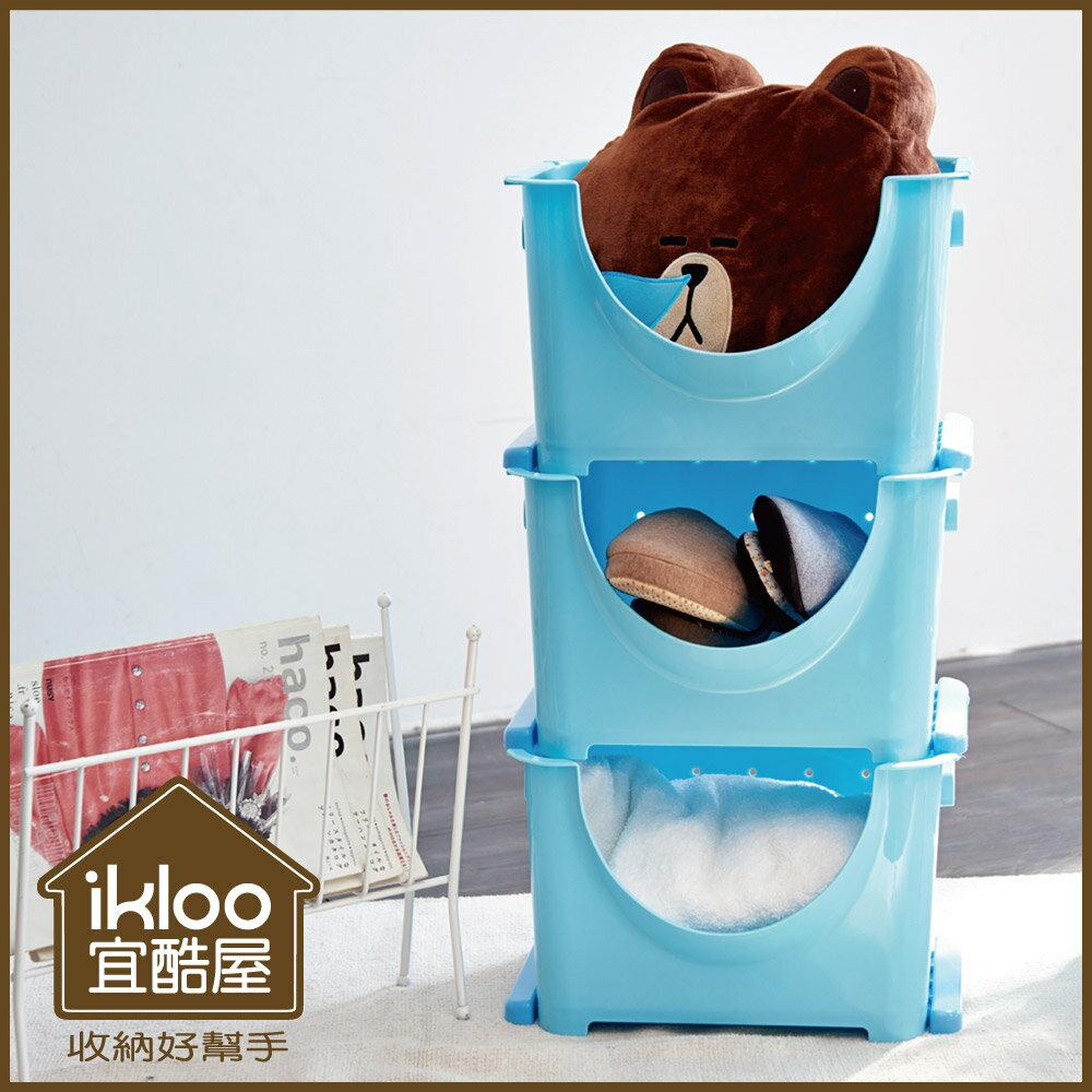 【ikloo】好心情可疊收納箱(22L)3入一組