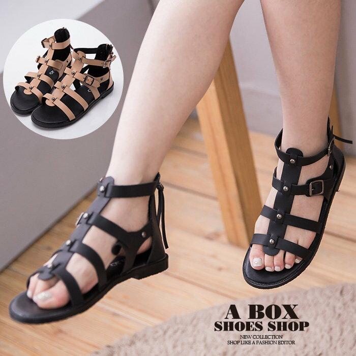 【KFK516-2】韓國製 街頭雜誌時尚單品 高品質真皮後拉鍊 魚骨羅馬涼鞋 羅馬鞋 2色