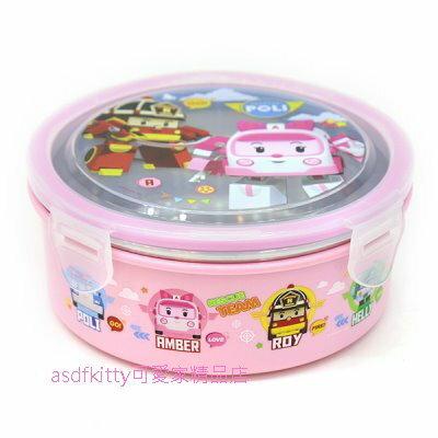 asdfkitty可愛家☆POLI救援小英雄 安寶粉紅色防燙304不鏽鋼圓型便當盒630ML-樂扣型-保鮮盒-韓國製