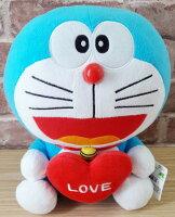 小叮噹週邊商品推薦【真愛日本】17121200009 叮噹坐姿12吋拿愛心-紅 哆啦A夢 Doraemon 小叮噹 娃娃 玩偶 愛心