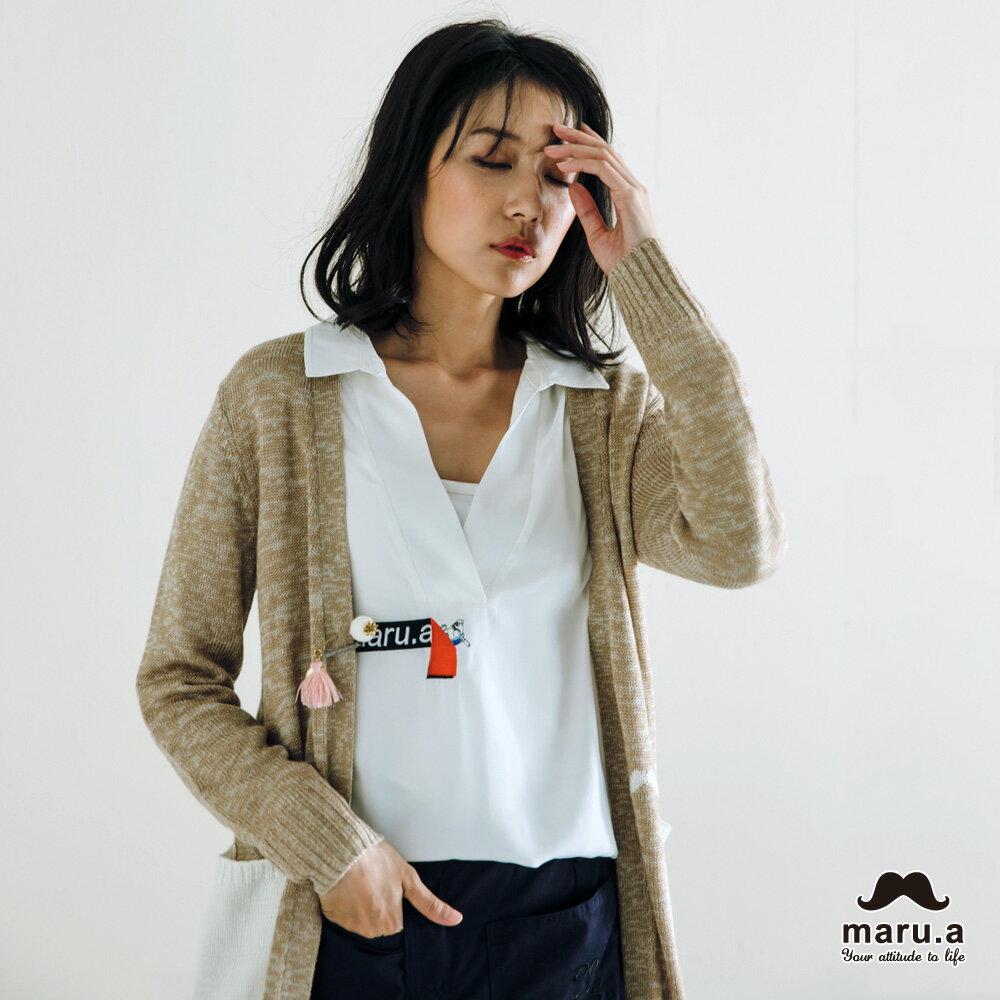 【maru.a】烏龜躲貓貓刺繡低領襯衫(2色)7923114 1