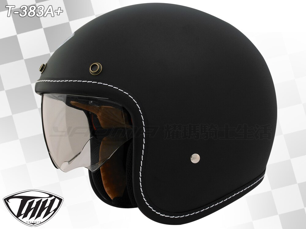 THH安全帽|T-383A+ 消光黑 【內藏墨鏡.內襯可拆】 復古帽 半罩帽 『耀瑪騎士機車部品』