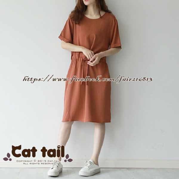 《貓尾巴》LZ-03191韓版簡約圓領收腰短袖連身裙(森林系日系棉麻文青清新)