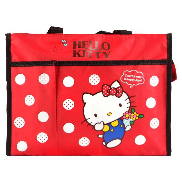 TheLife 樂生活:HelloKitty橫式手提側背補習袋才藝袋-紅色(ML0245)