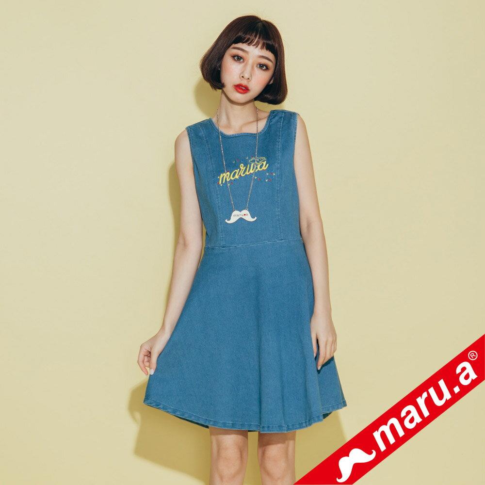 【maru.a】小飛象文字刺繡牛仔單寧洋裝(2色)8317117 1