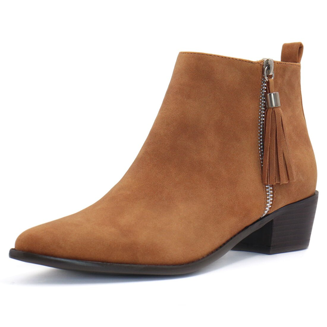 Women's Pointed Toe Tassel Zippered Stacked Heel Ankle Booties