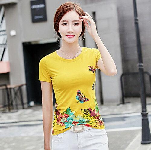韓版修身印花釘珠大碼T恤(4色M~4XL)*ORead* 3