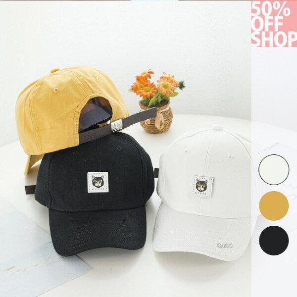 50%OFFSHOP貼布小貓咪鴨舌帽棒球帽【E036968H】