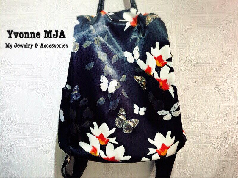 Yvonne MJA熱帶花朵復古古著風彩色銀花牛皮革後背包(運動風也好搭配)(真皮包包)(日本vivi推薦)