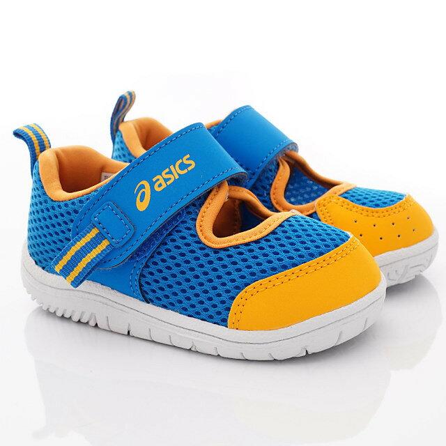 日本亞瑟士ASICS機能童鞋休閒學步鞋TUS118-415藍黃(中小童) 618購物節