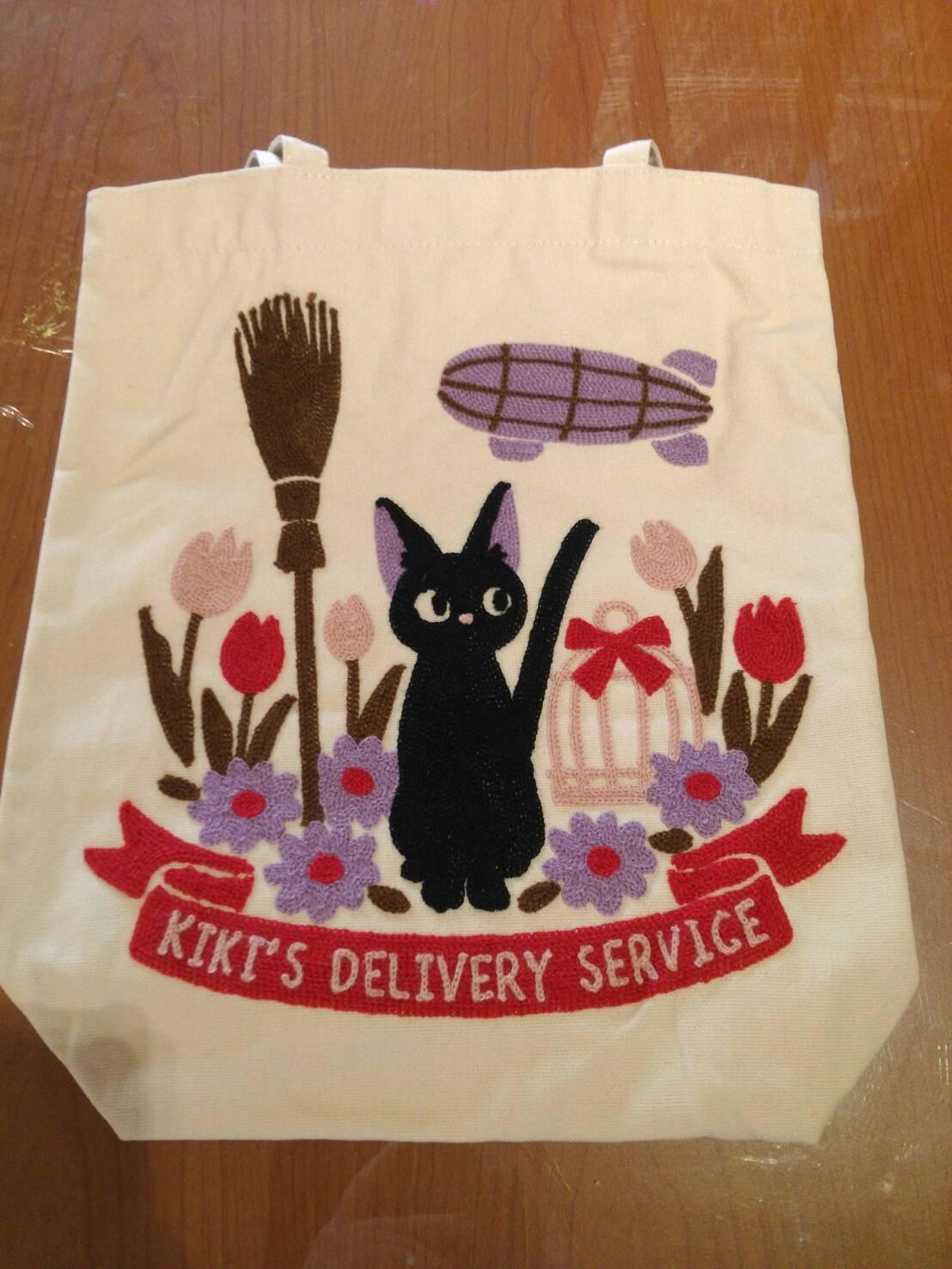 【真愛日本】17111700021 毯織帆布手提袋-黑貓JIJI 魔女宅急便 黑貓 奇奇貓 日用品 手提包 耐用材質