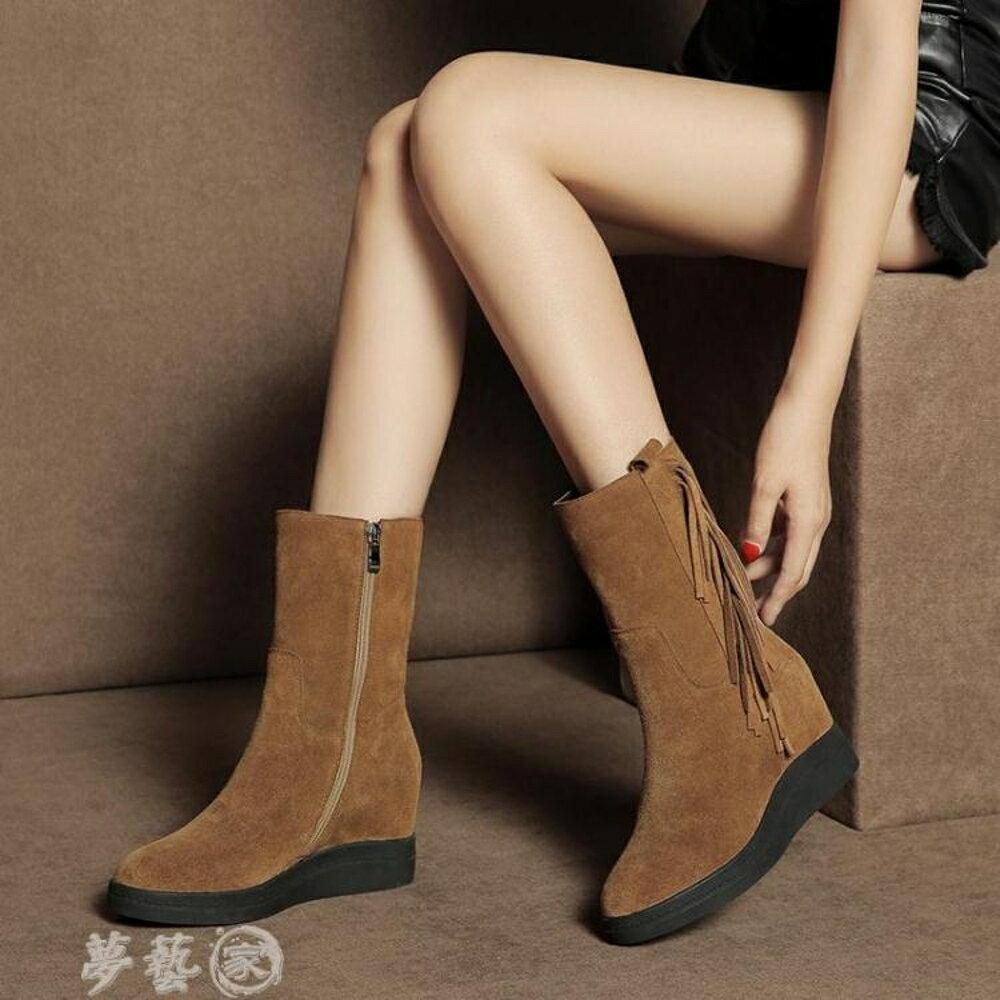 長靴 厚底短靴女春秋 新款馬丁靴子平底內增高冬季雪地靴流蘇中筒靴 夢藝家