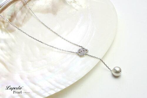 大東山珠寶 優雅白玫瑰 日本AKOYA天然海水珍珠純銀晶鑽項鍊 1
