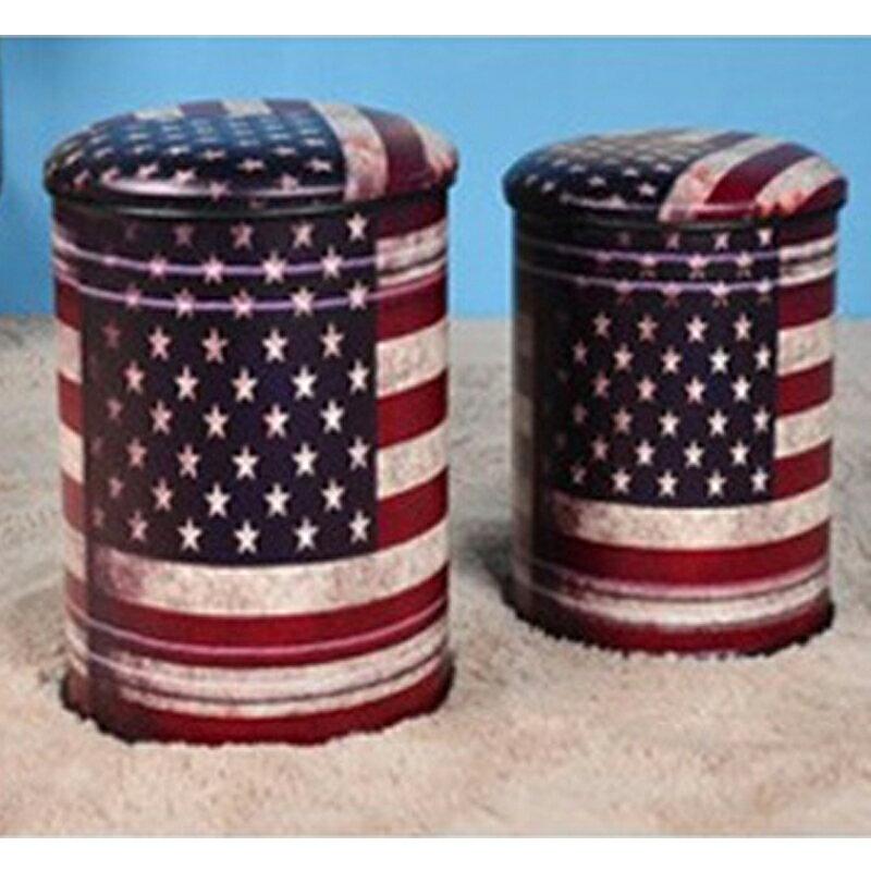 【新生活家具】《9 ball》美國國旗 小收納椅 收納凳 復古 工業風 loft 汽油桶 鐵桶 仿古 美式復古風
