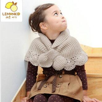 WallFree窩自在★韓國秋冬兒童蕾絲針織交叉女童披肩