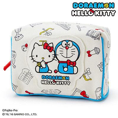 X射線【C464076】KittyX哆啦A夢化妝包(.藍白秘密),分隔拉鍊/多用途網狀透明拉鍊袋/文件袋/多用途收納袋/旅行必備