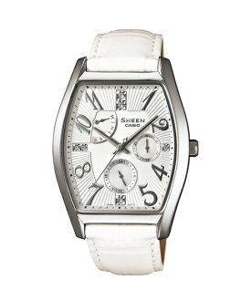 CASIO SHEEN SHE-3026L-7A1典雅酒桶多功能流行腕錶/白色46*34mm