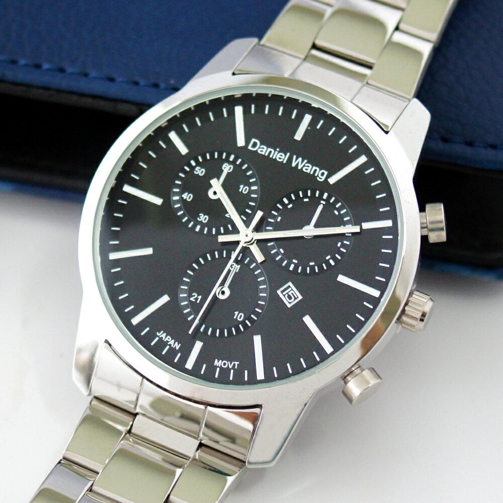 Daniel Wang 3136-S 霸氣大錶面經典仿三眼石英銀框金屬男錶 0