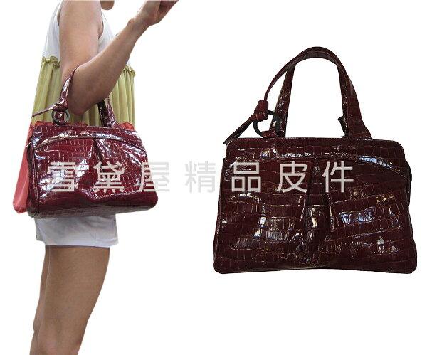 ~雪黛屋~ITALIDUCK手提包中容量台灣製造內二層100%進口鏡面牛皮革+棉質內裡肩斜側背隨身物品A059113