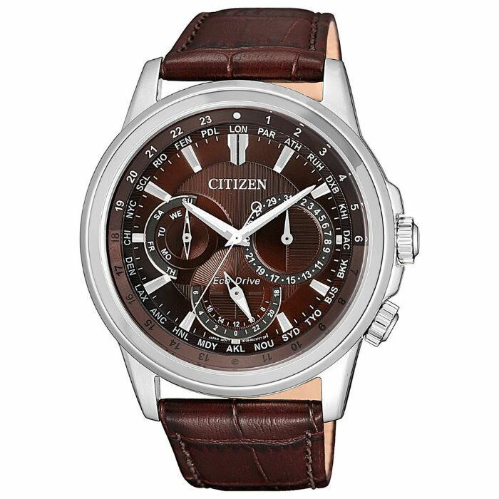CITIZEN 星辰 BU2020-29X 都市時尚日期顯示光動能腕錶 / 咖啡面 44mm