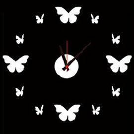 WallFree窩自在 ★ 韓版DIY創意壁貼時鐘E002-蝴蝶時鐘(附靜音機芯)