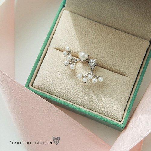 鑲鑽珍珠後掛式耳環10033【櫻桃飾品】【10033】