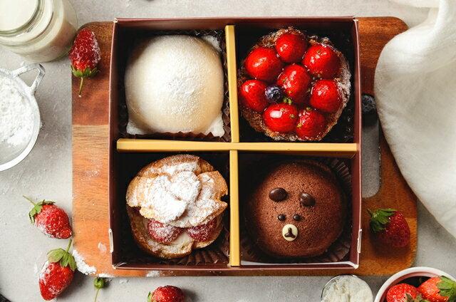 (免運)冬季限定聖誕甜點!草莓季限定~幸福草莓四宮格~小朋友最喜愛熊熊蛋糕,草莓起士派,Q軟麻吉雪媚娘及酥脆草莓泡芙~一次帶給你4種幸福享受 2