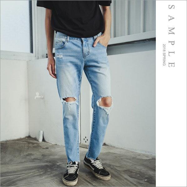 韓國製牛仔褲雙膝挖洞【JL20262】-SAMPLE