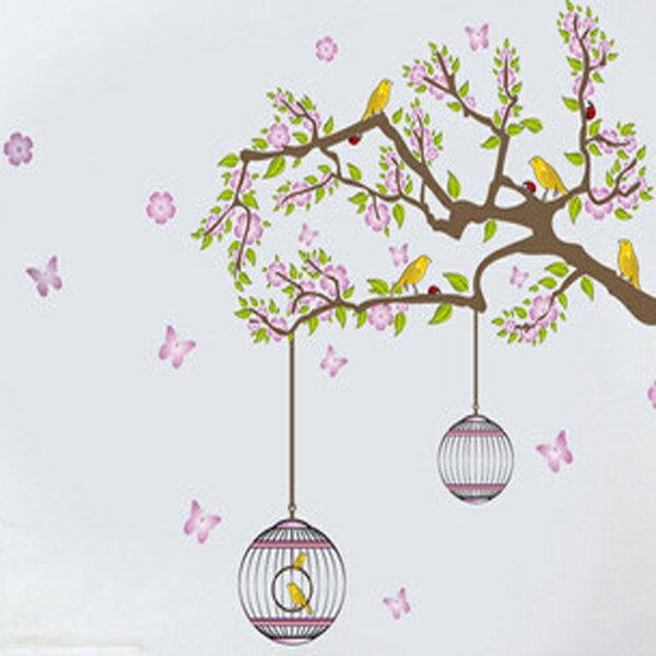 BO雜貨【YV1660-1】新款壁貼無痕創意壁貼室內佈置花鳥鳥籠樹木粉紅色花小鳥鳥籠DF5066