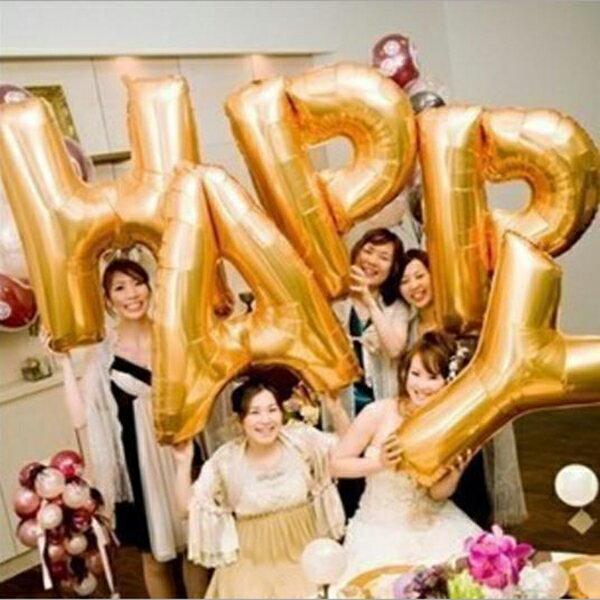 英文 A-Z 40吋 鋁箔氣球(金色) 字母空飄 生日派對 DIY組合 任意搭配 姓名氣球【塔克】