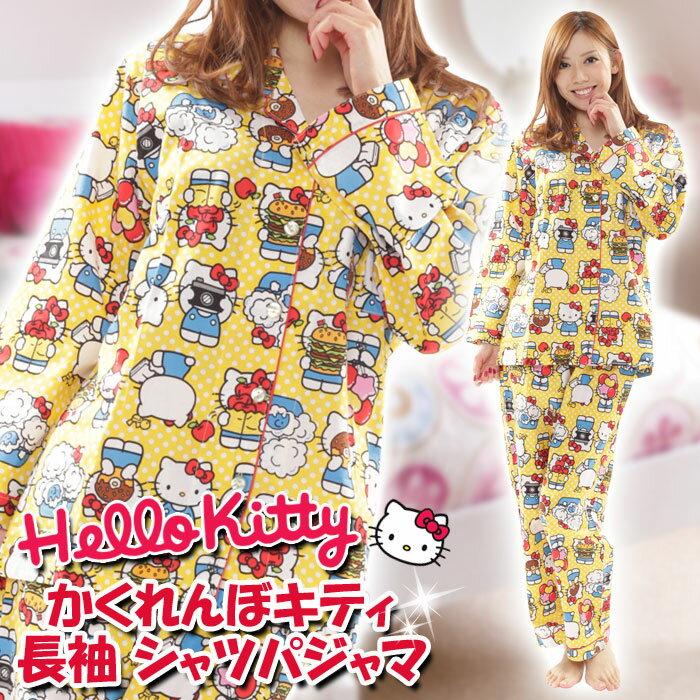 X射線【C560466】Hello Kitty 睡衣褲組-黃,情趣睡衣/家居服/內塑衣/睡衣/運動內衣/日系睡衣