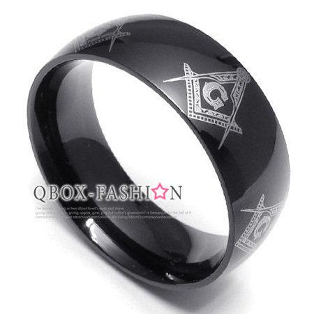 《 QBOX 》FASHION 飾品【W10022108】精緻個性黑色環圈共濟會316L鈦鋼戒指/戒環