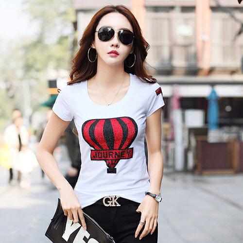 韓國修身顯瘦圓領燙鑽印花T恤(2色S~3XL)*ORead* 2
