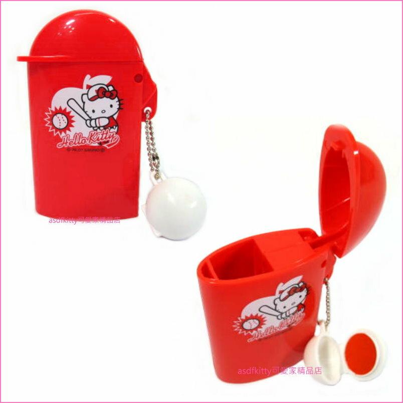 asdfkitty可愛家☆kitty棒球印章盒含印泥--日本正版商品