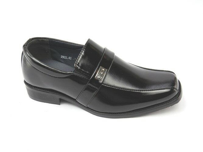 *男皮鞋* 時尚舒適方頭排壓氣墊皮鞋77-2903(黑)☆【彩虹屋】☆
