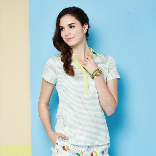 【FANTINO】女裝 夏日清新感80支雙絲光棉polo衫 (粉綠、紅) 571101-571102 1