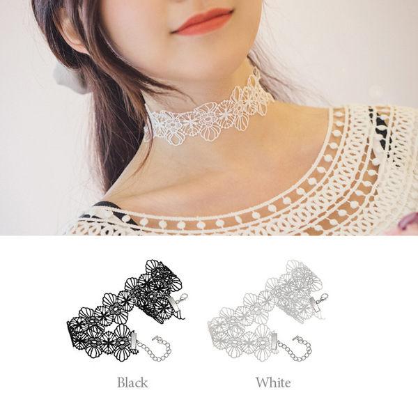 PS Mall 配飾品 森女巴羅克洛麗塔黑色白色寬蕾絲女短頸鏈 項鍊 手鏈兩入一組~G21