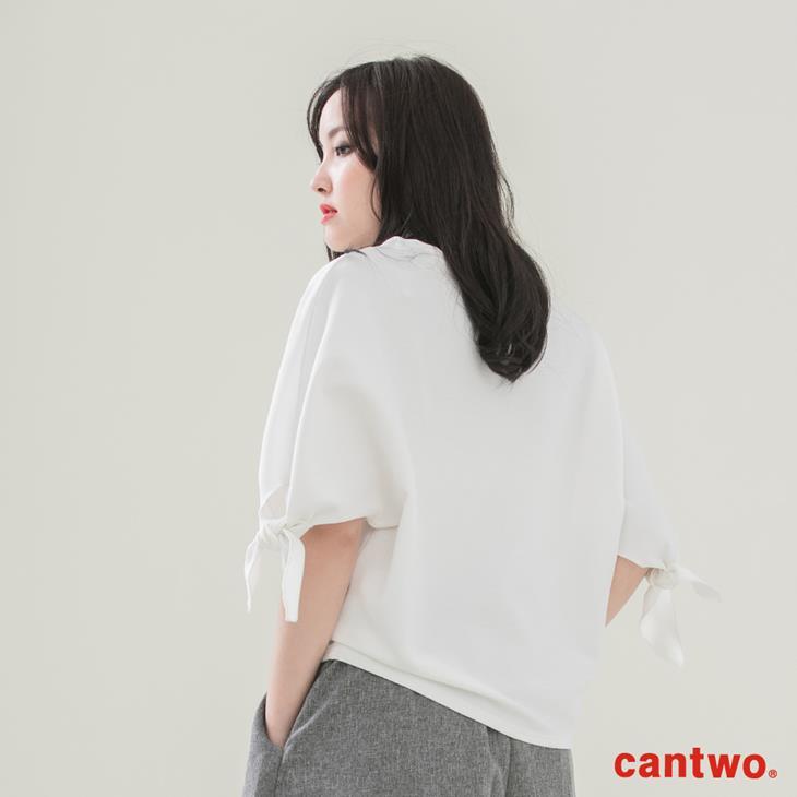 cantwo簡約綁結五分袖上衣(共二色) 3