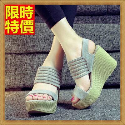 楔型涼鞋厚底涼鞋-時尚性感高跟流行真皮女坡跟涼鞋3色69w22【獨家進口】【米蘭精品】