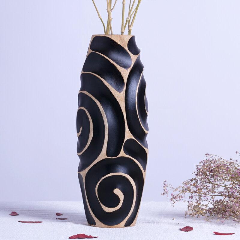 實木復古文藝客廳茶幾裝飾品雕刻螺紋花瓶禪意擺件插花插干花花瓶1入