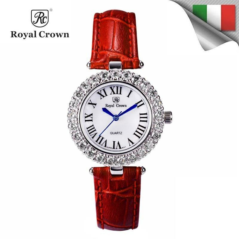 日本機芯 經典華貴氣質鑲鑽石英女錶 多色真皮錶帶6305P免運費 義大利品牌精品手錶 蘿亞克朗 Royal Crown 極品