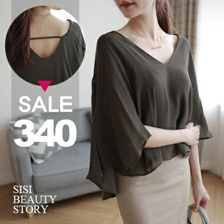 SISI【T6038】氣質優雅寬鬆大V領斗篷式蝙蝠袖雪紡上衣