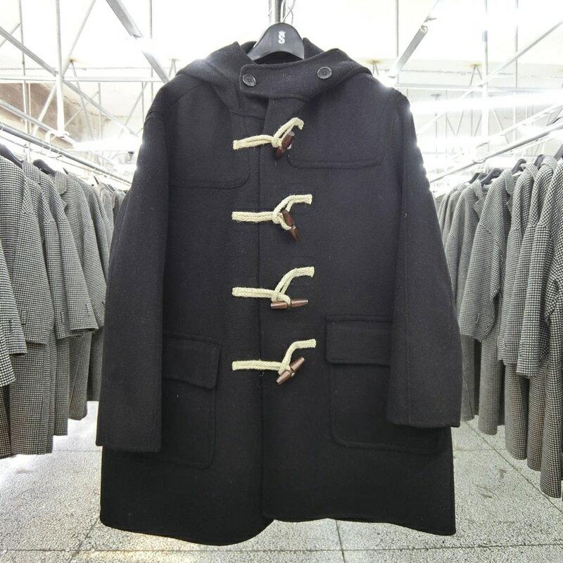 毛呢大衣羊毛外套-短版寬鬆連帽牛角扣女外套2色73wb48【獨家進口】【米蘭精品】 2