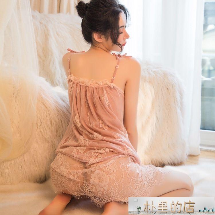 睡衣 夏季性感睡衣女蕾絲誘惑激情火辣大碼胖mm冰絲長款吊帶睡裙可外穿