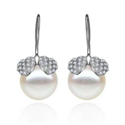 純銀耳環鍍白金鑲鑽耳飾~高檔 搶眼珍珠生日情人節 女飾品73cr323~ ~~米蘭 ~