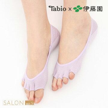 【Tabio×伊藤園】吸濕除臭絲綢露趾5趾船襪