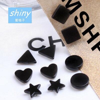 【30A32】shiny藍格子-時尚氣質.多樣式無耳洞磁鐵耳釘假耳夾耳環