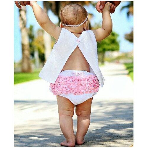 【hella 媽咪寶貝】美國 RuffleButts 小女童荷葉屁屁褲/包屁褲 白色淡粉 (RBRBW015)