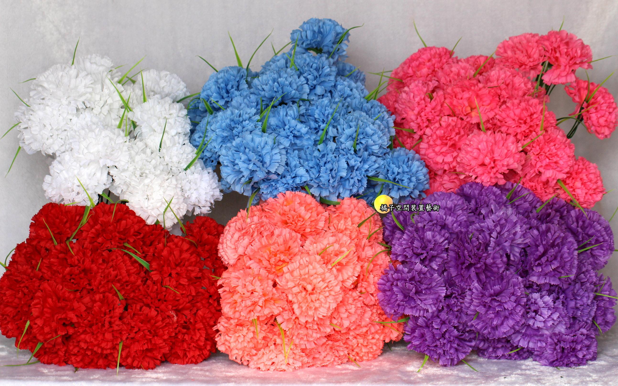 [魚痴的秘密花園] 單枝 人造康乃馨. 母親節禮物花束☆人造花.居家.店面.櫥窗擺飾