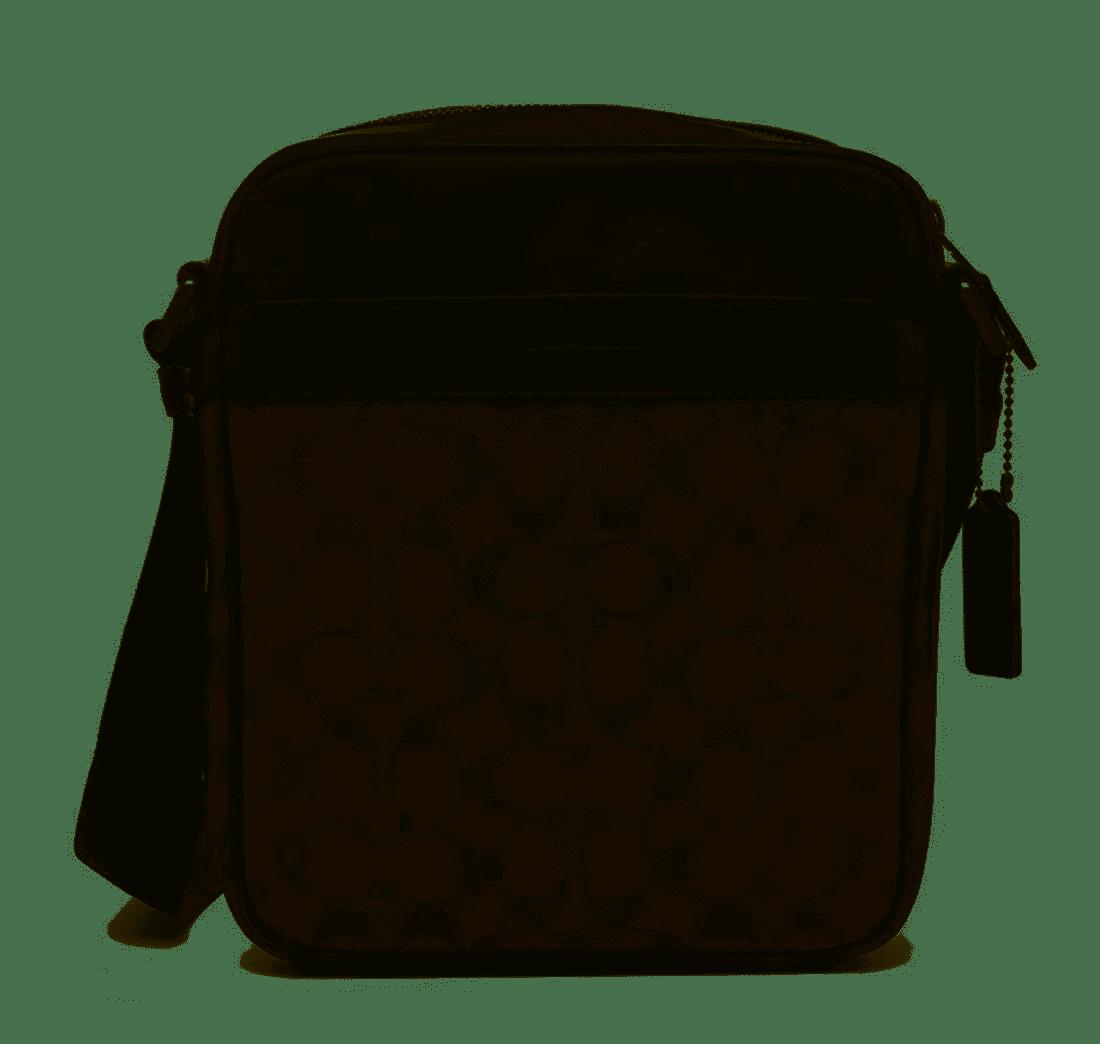 【COACH】經典咖 LOGO 皮革/PVC防刮皮革男款斜背包